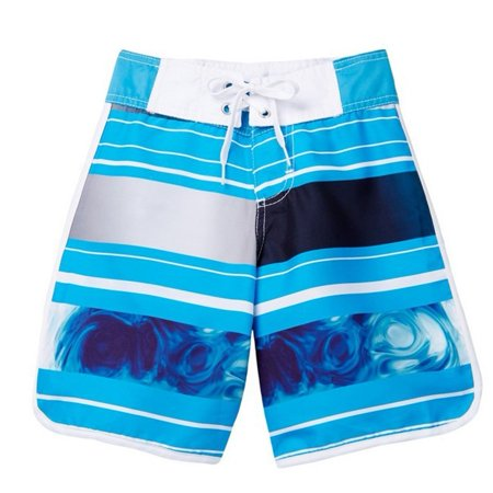 Azul Boys Blue Stripe Print Tidal Wave Drawstring Tie Board Shorts