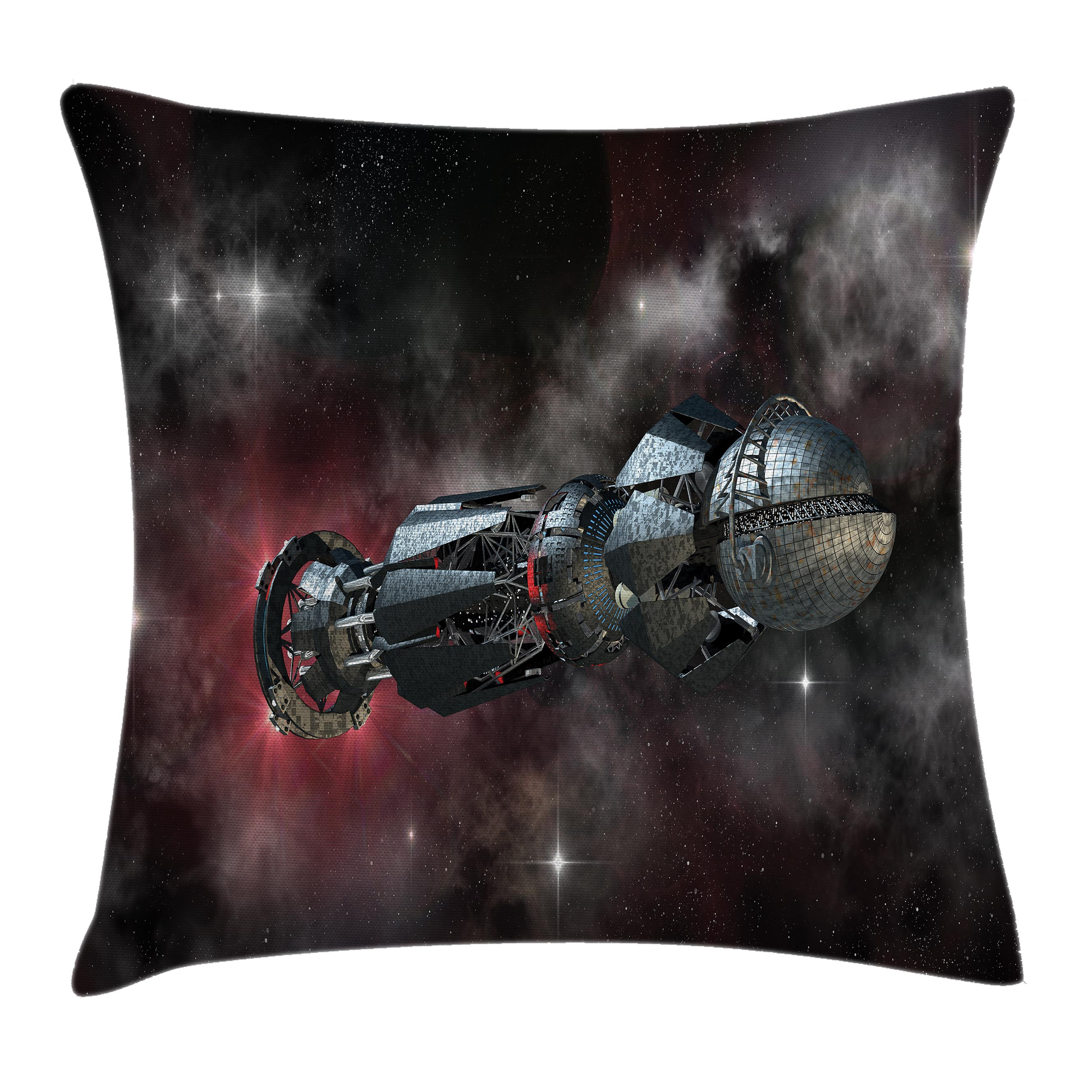 Galaxy Throw Pillow Cushion Cover, Spaceship in Interstellar Travel on a Galactic Starfield Alien Fantasy Science Fiction, Decorative Square Accent Pillow Case, 20 X 20 Inches, Black, by Ambesonne