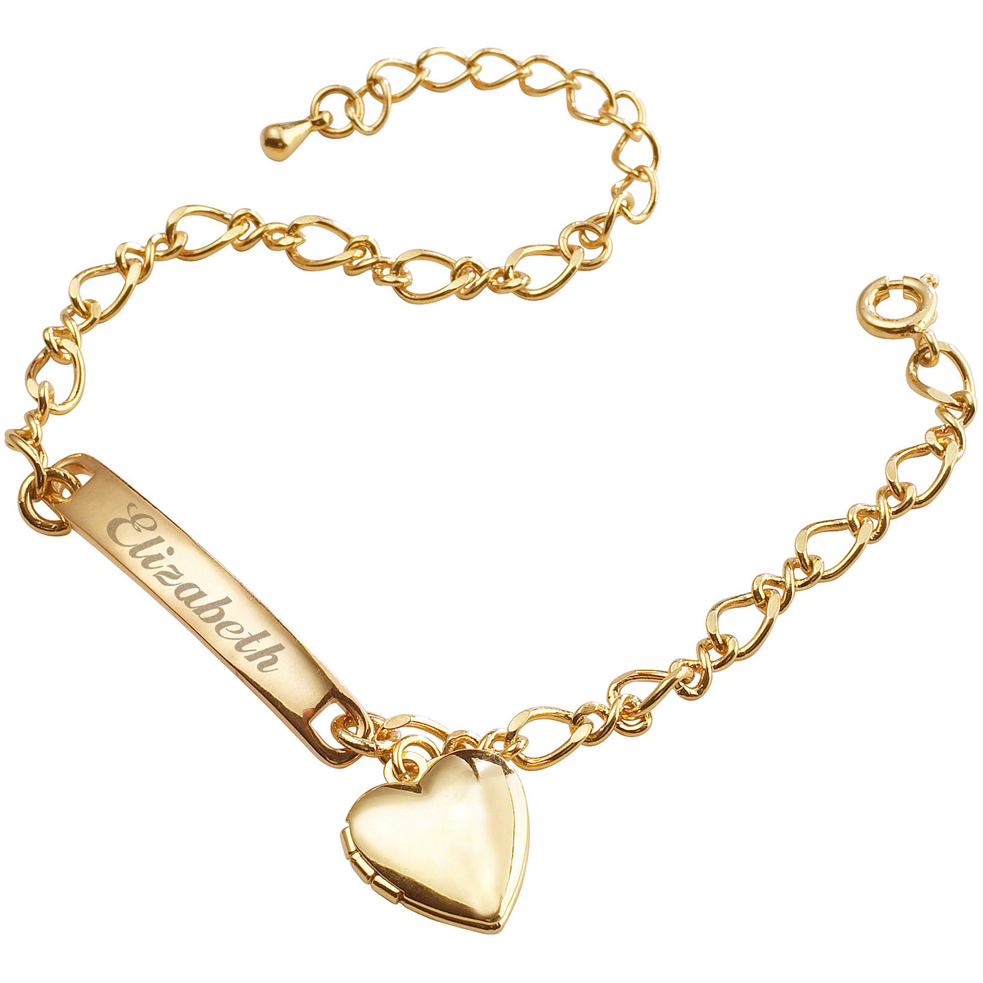 Personalized 14kt Gold-Plated Girls' Heart Charm Bracelet