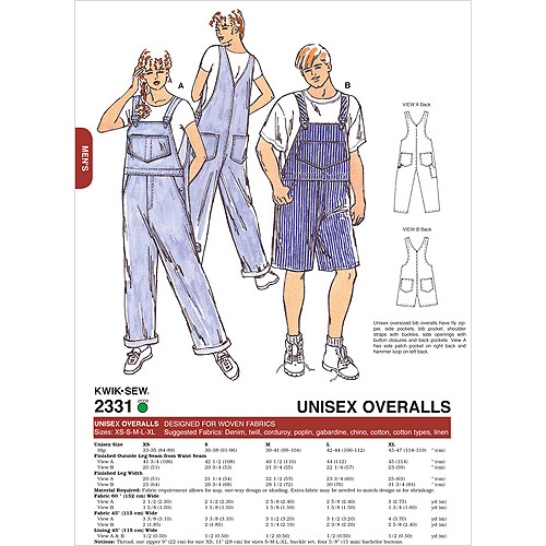Kwik Sew Pattern Overalls, (XS, S, M, L, XL)