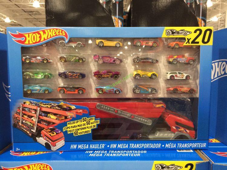 Hot Wheels Mega Hauler Giftset with 20 Hot Wheels Cars (Car Styles May Vary) by HotWheels