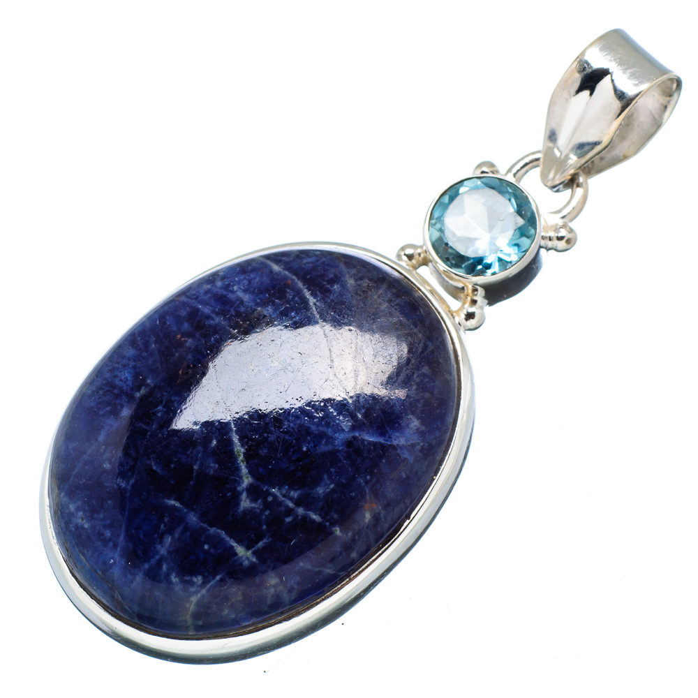 "Ana Silver Co Sodalite, Blue Topaz Pendant 2"" (925 Sterling Silver) - Handmade Jewelry PD607627"
