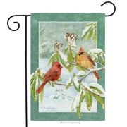 "Winter Birds Decorative Garden Flag Cardinals Seasonal Snowy 12.5"" x 18"""