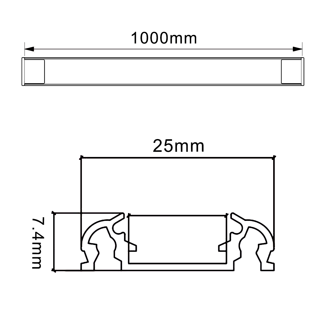 3Pcs CN-607 1m 25mmx7.4mm LED Aluminum Channel System w Cover for LED Strip - image 3 of 5