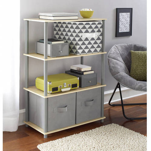Mainstays No Tools 6-Cube Storage Shelf with 2 Collabsible Fabric Storage Cubes, Mix and Match Colors