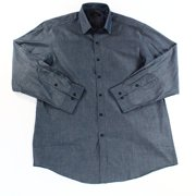 Club Room NEW Blue Chambray Mens Size 16 Woven Button-Front Dress Shirt $52