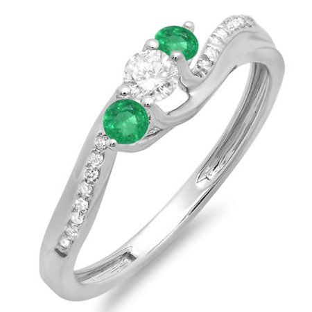 0.50 Carat (ctw) 18k White Gold Round Green Emerald And White Diamond 3 Stone Ladies Swirl Bridal Engagement Ring 1/2 CT