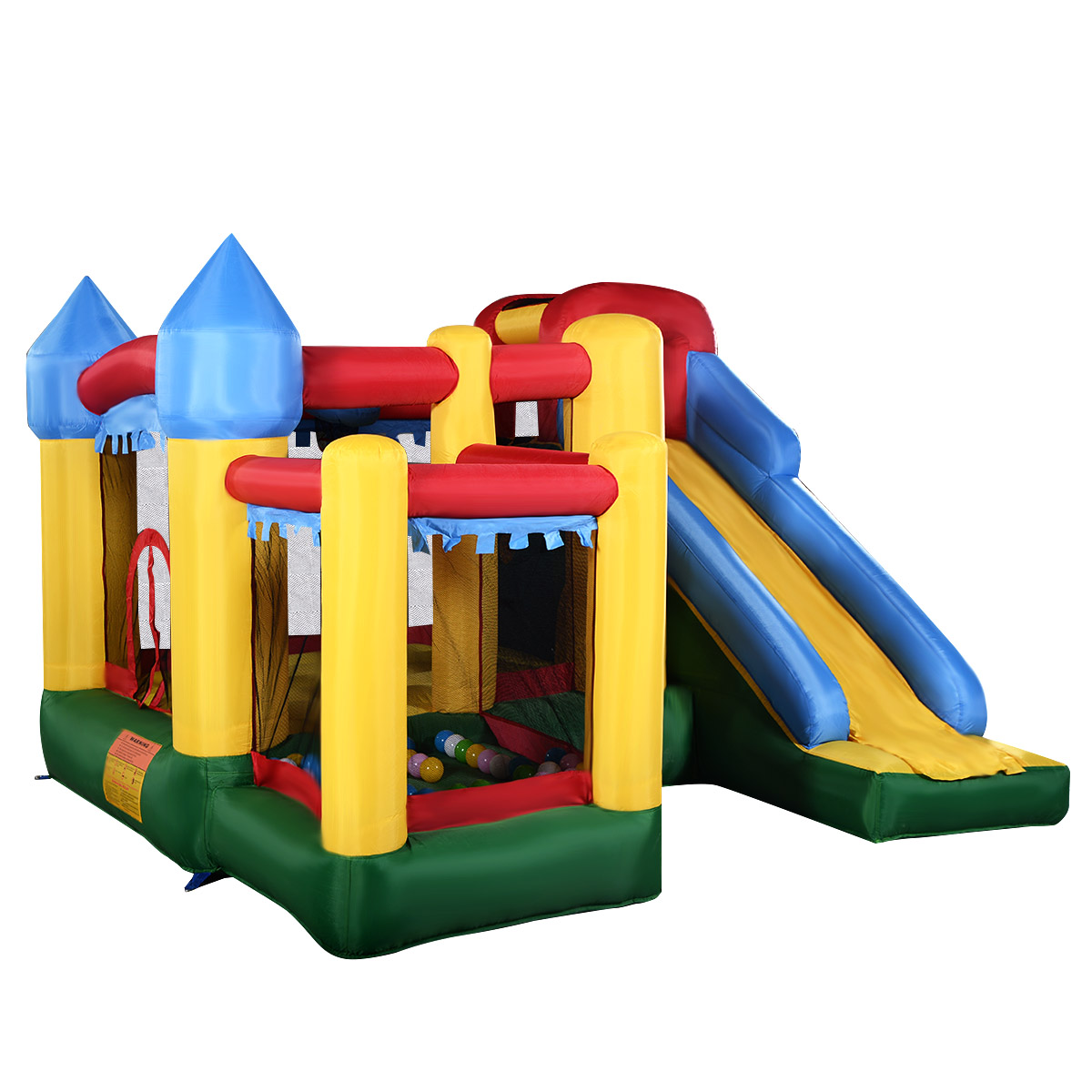 costway mighty inflatable bounce house castle jumper moonwalk bouncer without blower - Water Slide Bounce House