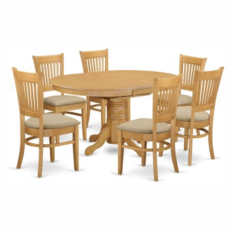Oval 7 Piece (East West Furniture Avon 7 Piece Pedestal Oval Dining Table Set with Vancouver Microfiber Seat Chairs )