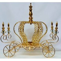 """Gold Crown Metal Carriage Coach All Occasion Party-Wedding, Sweet 16, Mis Quince Anos Decoration Princess Party Fairytale Centerpiece 17"""" H"""