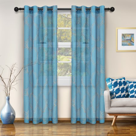 Superior Semi Sheer Moroccan Printed Curtain Panels Set