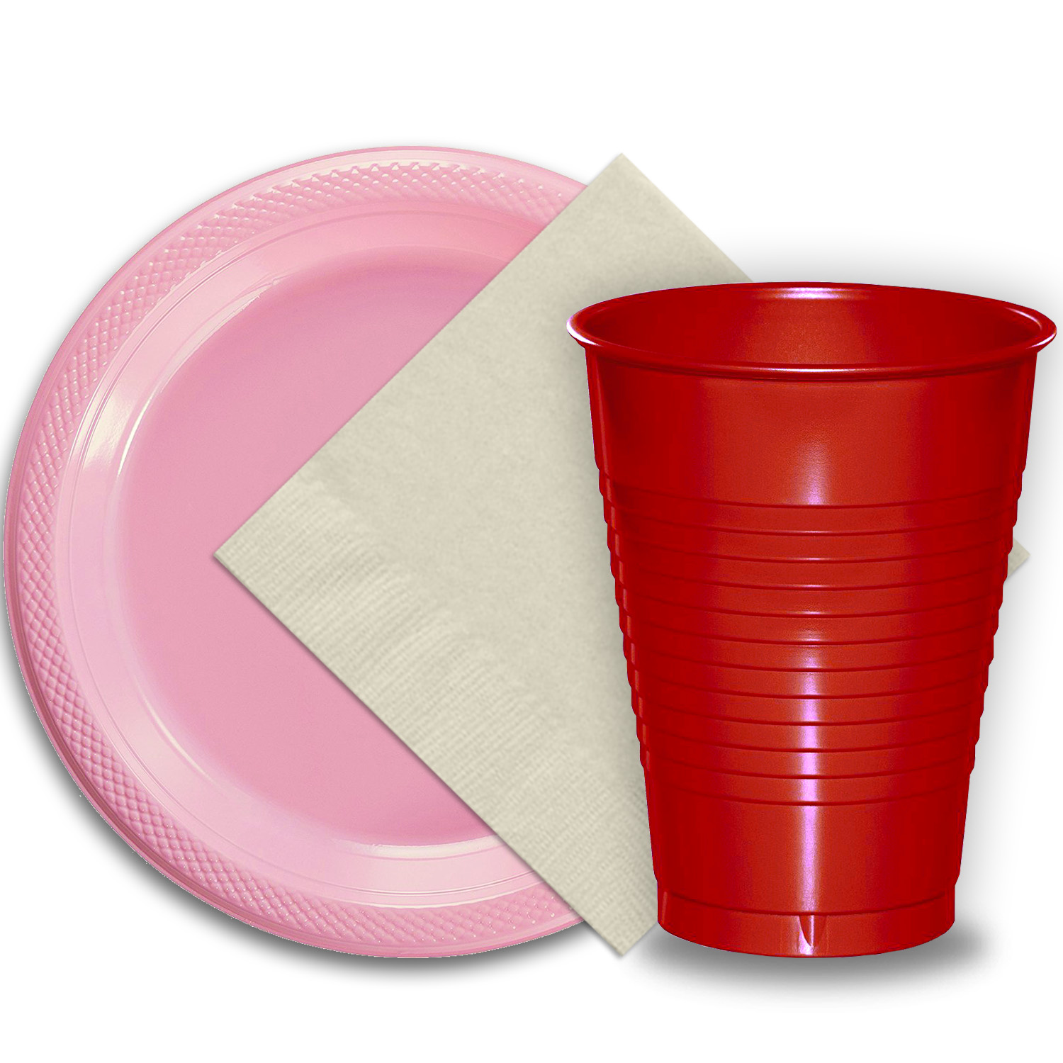 "50 Pink Plastic Plates (9""), 50 Red Plastic Cups (12 oz.), and 50 Ivory Paper Napkins, Dazzelling Colored Disposable Party Supplies Tableware Set for Fifty Guests."