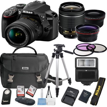 Nikon D3400 24.2 MP DSLR Camera + 18-55mm VR Lens Kit + Accessory Bundle + 2X 32GB Memory + Nikon Camera Bag + Wide Angle Lens + 2x Telephoto Lens + Flash + Remote + Tripod + Filters  +