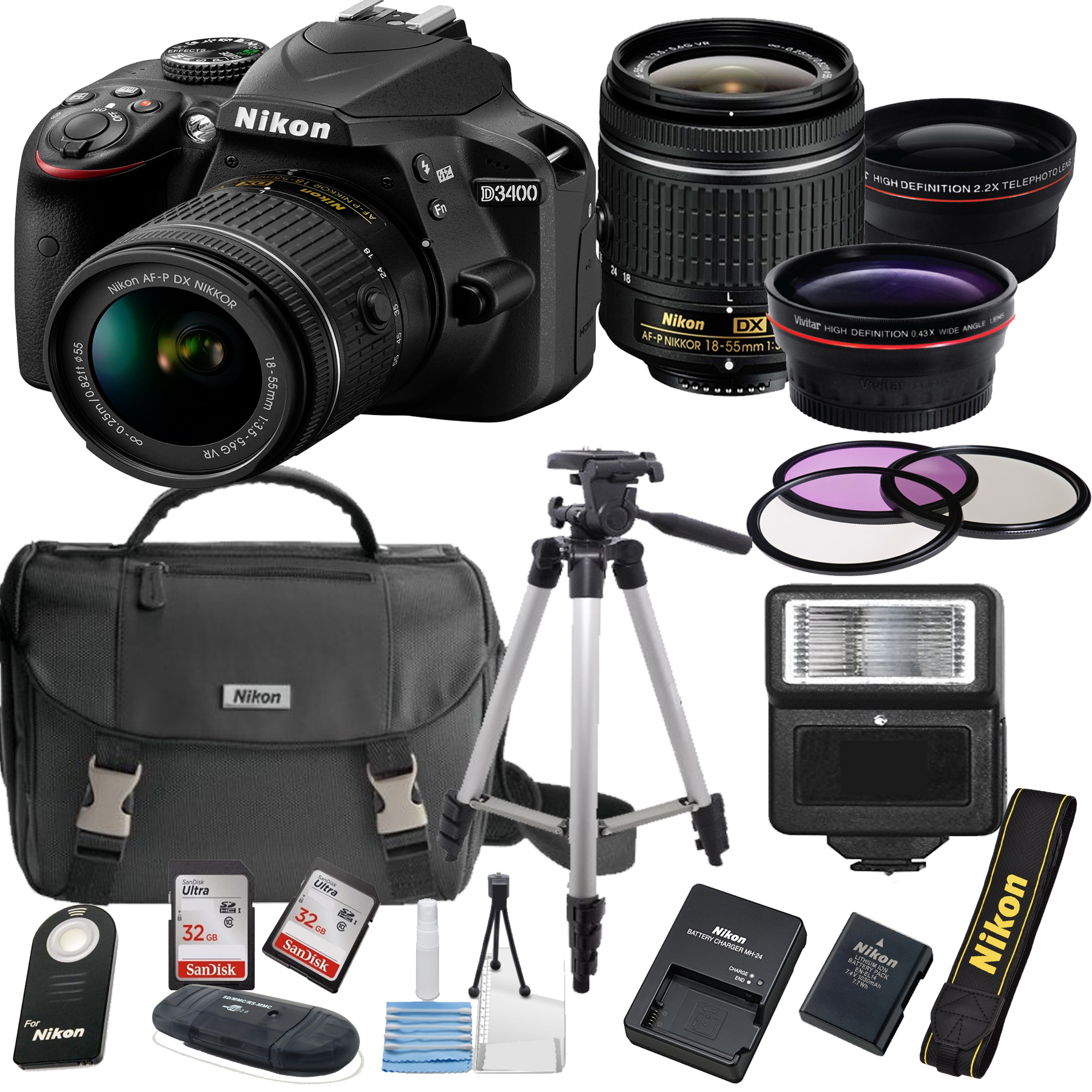 Nikon D3400 24.2 MP DSLR Camera + 18-55mm VR Lens Kit + Accessory Bundle + 2X 32GB Memory + Nikon Camera Bag + Wide Angle Lens + 2x Telephoto Lens + Flash + Remote + Tripod + Filters  + More