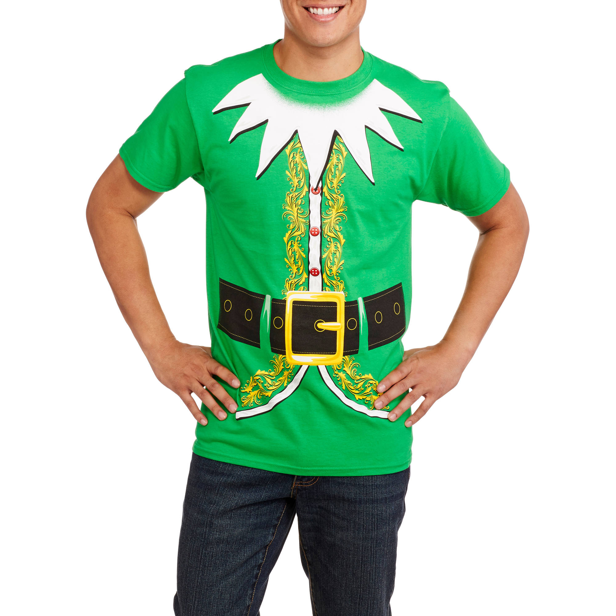 Christmas Big Men's Elf Suit Graphic Tee