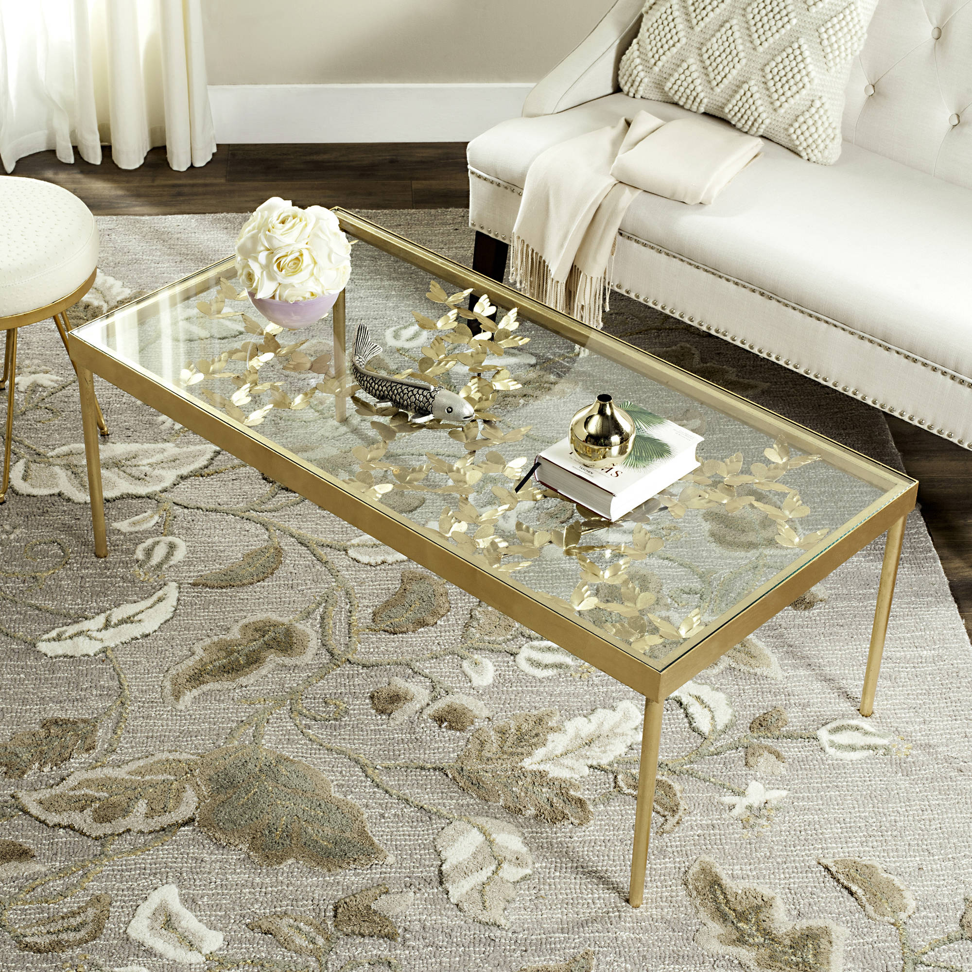 """safavieh otto 48"""" width ginkgo leaf coffee table, antique gold leaf"""