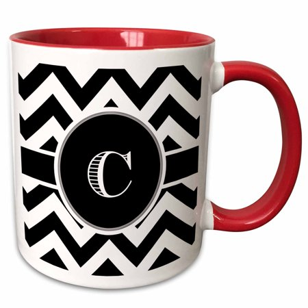 3dRose Black and white chevron monogram initial C - Two Tone Red Mug, 11-ounce](Monogrammed Cups)