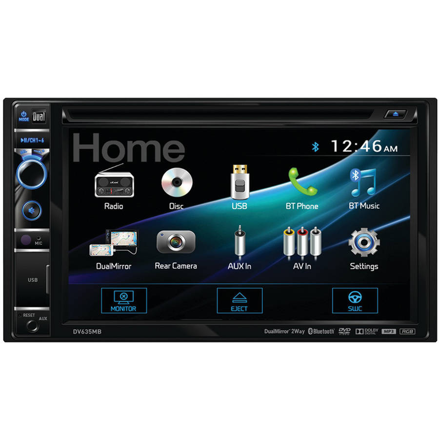 "Dual Electronics DV635MB 6.2"" Double-DIN In-Dash DVD Receiver with Built-in Bluetooth, DualMirror and HDMI Input"