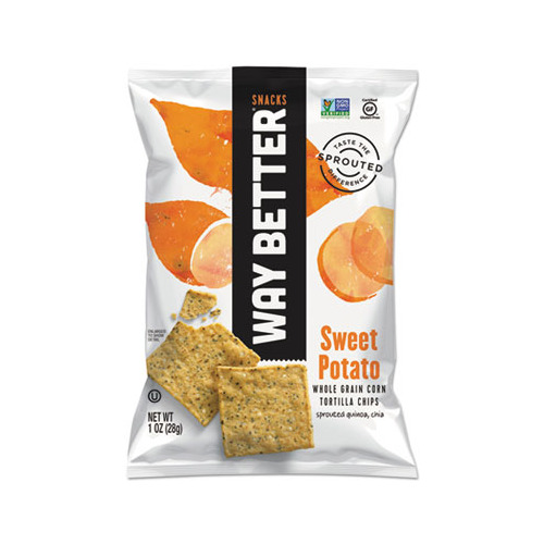 Way Better Snacks Tortilla Chips Sweet Potato Case of 12 1 oz.