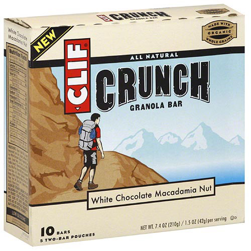 CLIF Bar Crunch White Chocolate Macadamia Nut Granola Bars, 10 count, (Pack of 12)