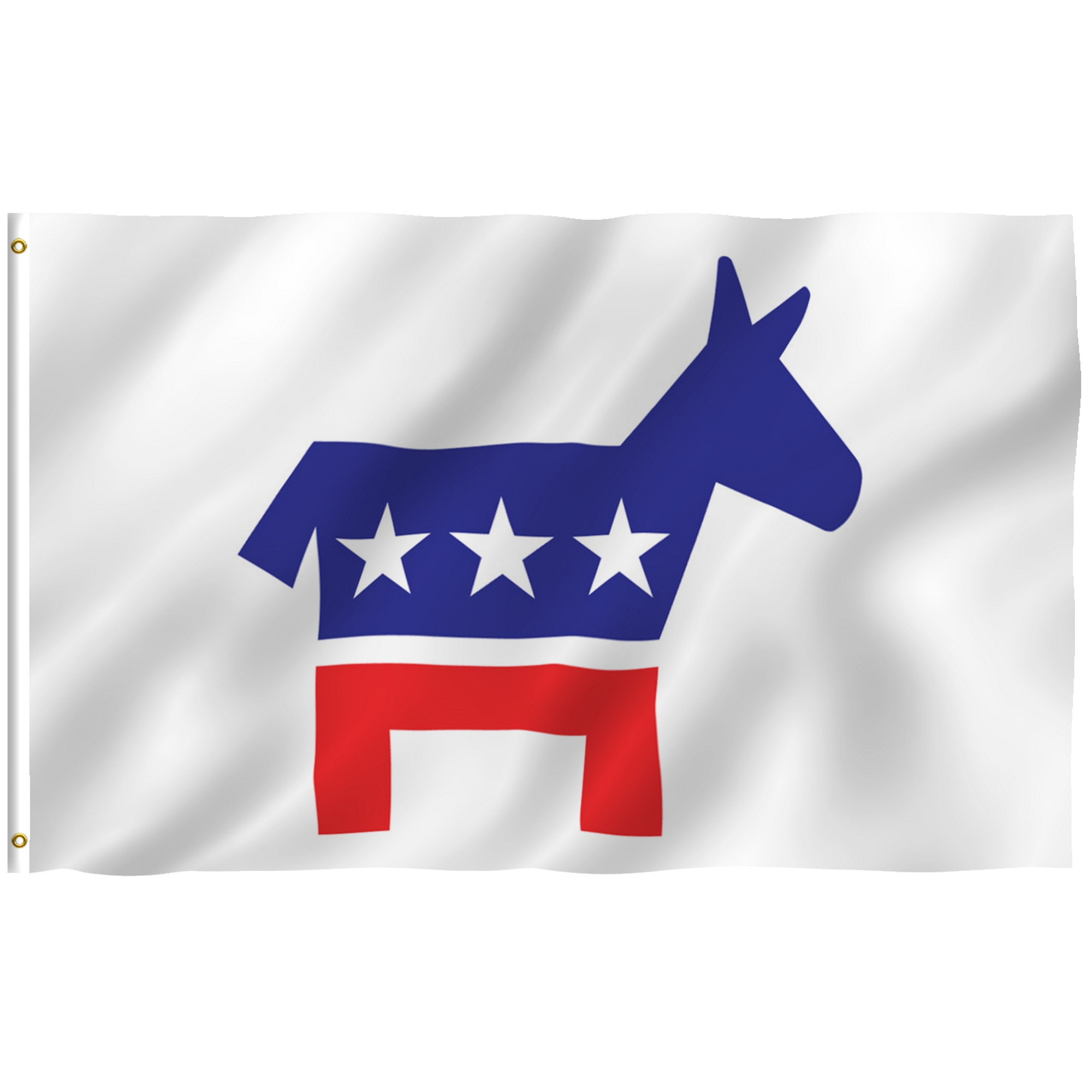 ANLEY [Fly Breeze] 3x5 Foot Democratic Party Flag - Vivid Color and UV Fade Resistant - Canvas Header and Double Stitched - Democrat Donkey Flags Polyester with Brass Grommets 3 X 5 Ft