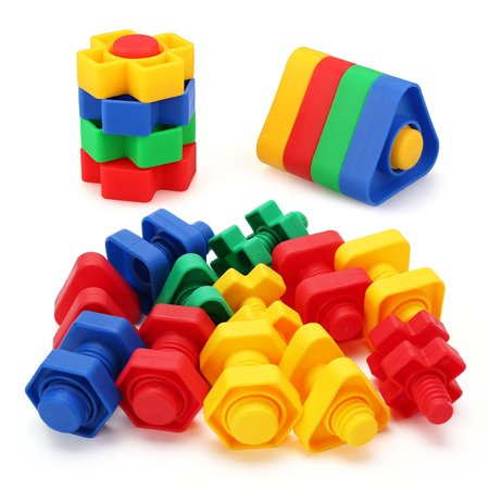 Jumbo Nuts and Bolts Toys for Toddler Kids Girls Boy 1, 2, 3, 4, 5 Years Old, 24PCS, Fine Motor Matching Toys with Storage Case for Preschoolers Montessori