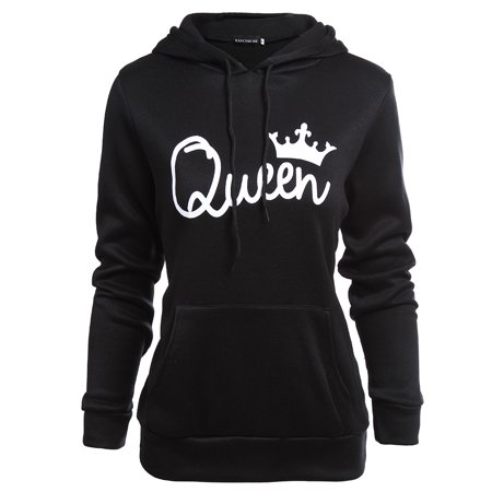 Fancyleo Queen Printed Hooded Sweatshirt Fashion Couples Pullover