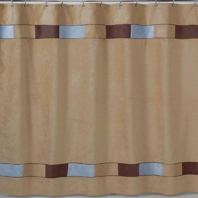 Soho Blue and Brown Kids Bathroom Fabric Bath Shower Curtain by Sweet Jojo Designs by