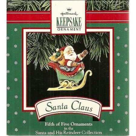 Hallmark Ornament 1992 Santa and Reindeer, Santa Claus Sled