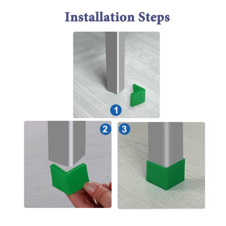 40mm x 40mm Angle Iron Foot Pad L Shaped PVC Leg Cap Floor Protector Green 8pcs - image 3 de 7