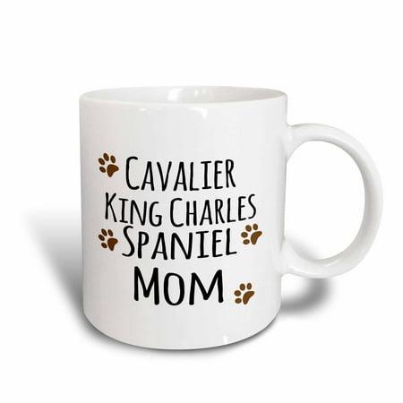 Tri Cavalier King Charles Spaniel - 3dRose Cavalier King Charles Spaniel Dog Mom - Doggie by breed - brown muddy paw prints - doggy lover owner, Ceramic Mug, 11-ounce