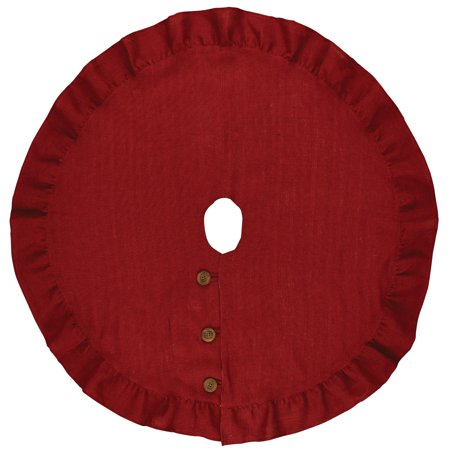 Park Designs Red Jute Burlap Tree Skirt with Ruffled Edges ()