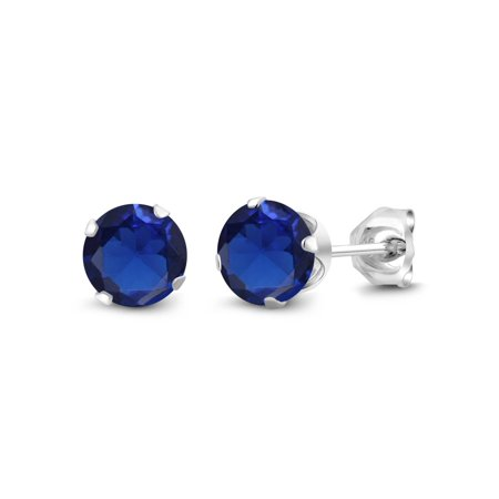 2.00 Ct Round 6mm Blue Created Sapphire 925 Sterling Silver Stud Earrings