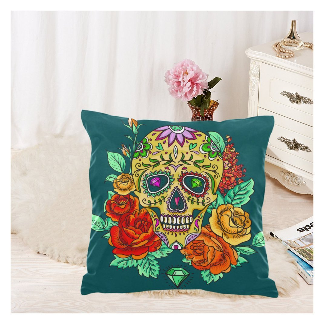 Zkgk Home Decor Skull Diamond And Flowers Day Of The Dead Pillowcase 18 X 18 Inches Two Sides Blue Soft Pillow Cover Case Shams Decorative Walmart Com Walmart Com