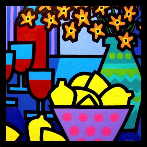 Buy Art For Less 'Flowers in Vase, Bowl of Fruit Lemons, Red Wine Glasses Poster' by John Nolan Framed Painting Print