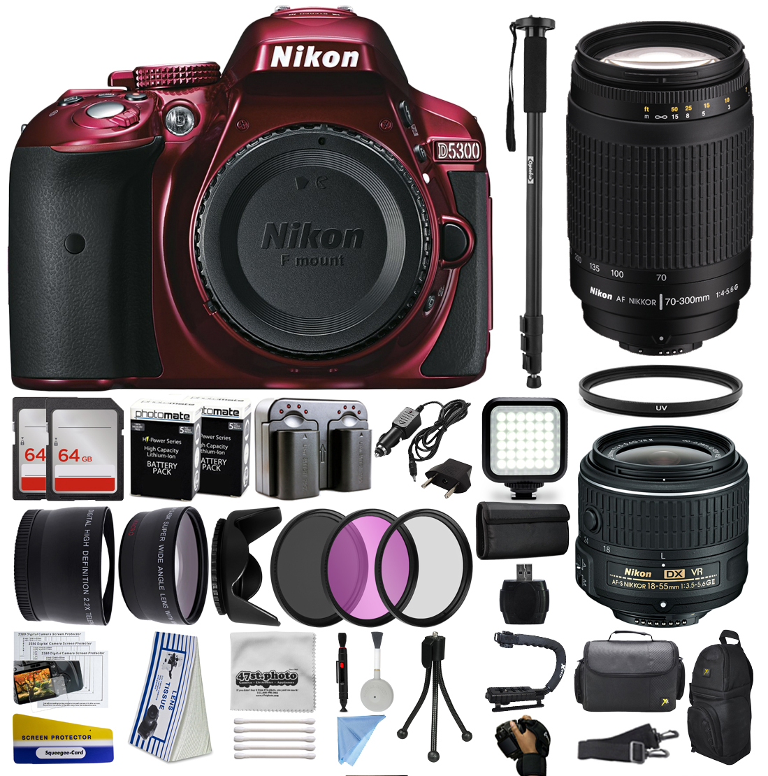 Nikon D5300 Red DSLR Digital Camera + 18-55mm VR II + 70-300mm f/4-5.6G Lens + 128GB Memory + (2) Batteries + Charger + LED Video Light + Backpack + Case + Filters + Auxiliary Lenses