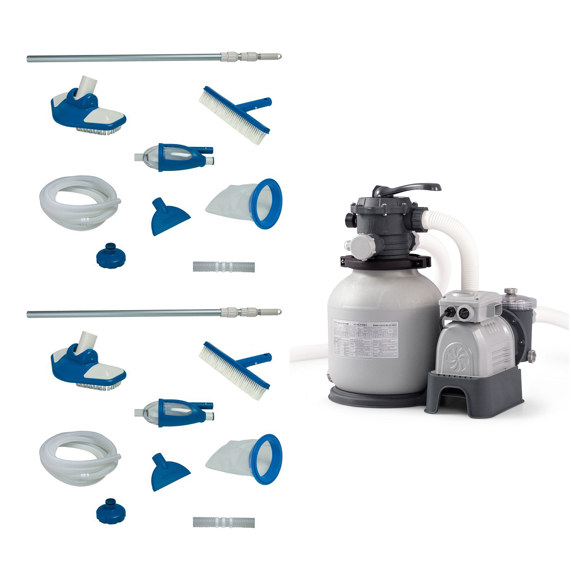 Intex Deluxe Pool Maintenance Kit with Vacuum & Pole (2 Pack) & Sand Filter Pump