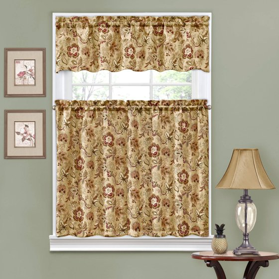 Traditions By Waverly Navarra Floral Kitchen Curtain And