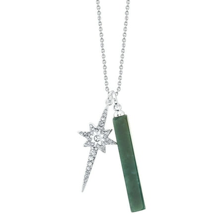 Believe By Brilliance Fine Silver Plated Jasper Bar and Crystal Starburst Pendant Necklace, 18