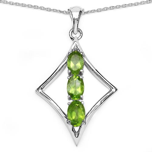 Malaika  Sterling Silver 1 1/2ct Peridot Necklace