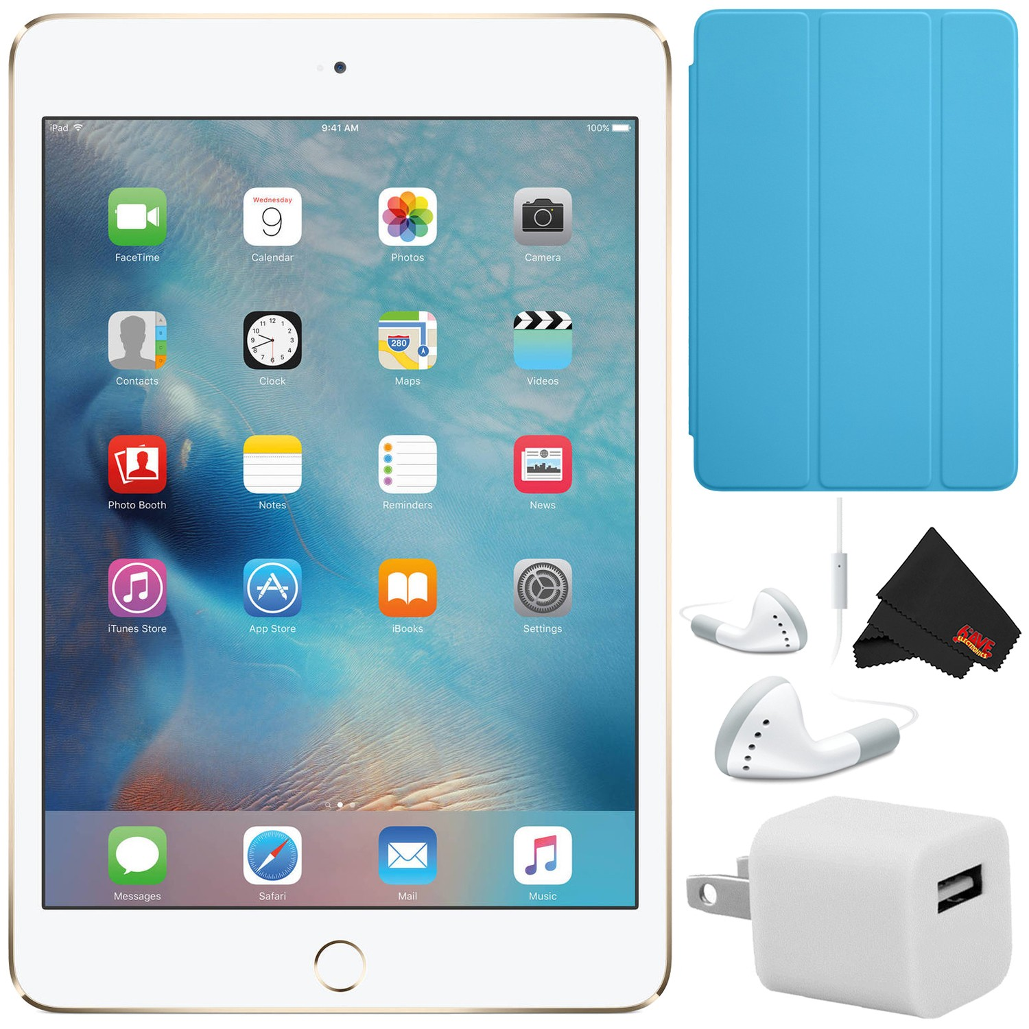 "Apple iPad mini 4 128GB 7.9"" Retina Display (Wi-Fi Only, Gold) MK9Q2LL/A - Bundle w/ White Corded Ear Buds"