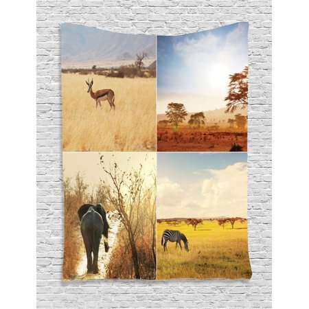 Safari Decor Wall Hanging Tapestry, African Safari Collages With ...