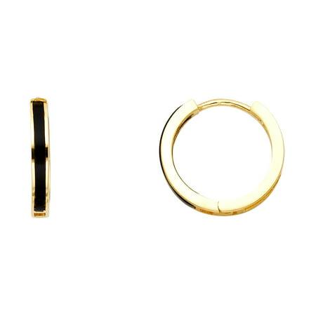 Onyx Huggies Solid 14k Yellow Gold Round Huggie Hoop Earrings Black Stylish Polished Finish Fancy 15 mm