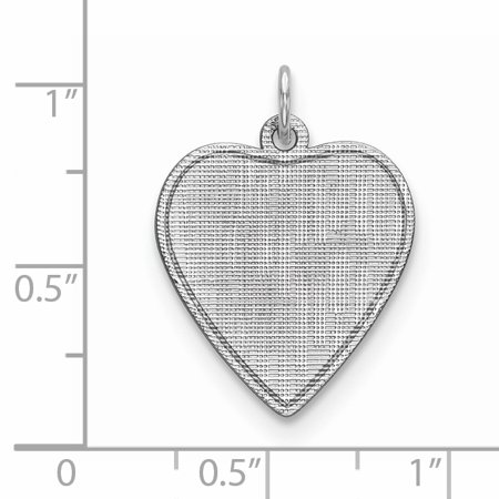 925 Sterling Silver Rh Plt Engraveable Heart Patterned Front Back Disc Necklace Pendant Charm Engravable Fine Jewelry Gifts For Women For Her - image 2 of 6