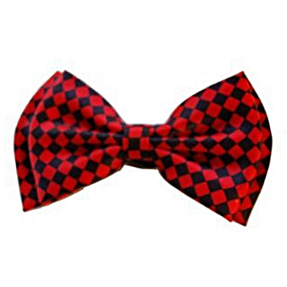 Checkered Board Print Bow 4.3 inches Tie - Red / Black