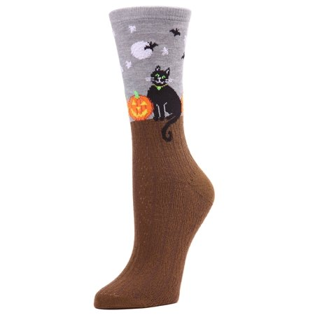 MeMoi Starry Night Cat Crew Socks | Fun Halloween Novelty Socks One Size 9-11 / Medium Gray Heather MF7 949 - Halloween 911