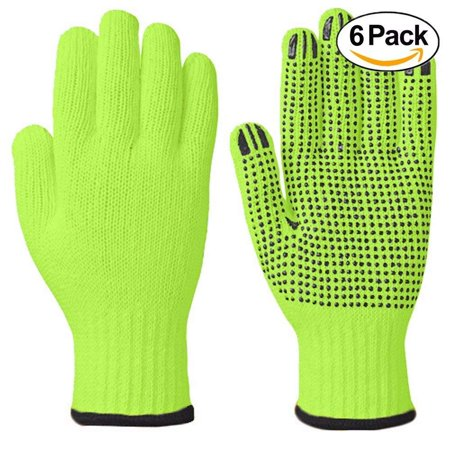 Wideskall® High Visibiliby Large Cotton PVC Dots Grip String Knit Safety Work Gloves, 6 Pairs (Work Gloves With Grip)