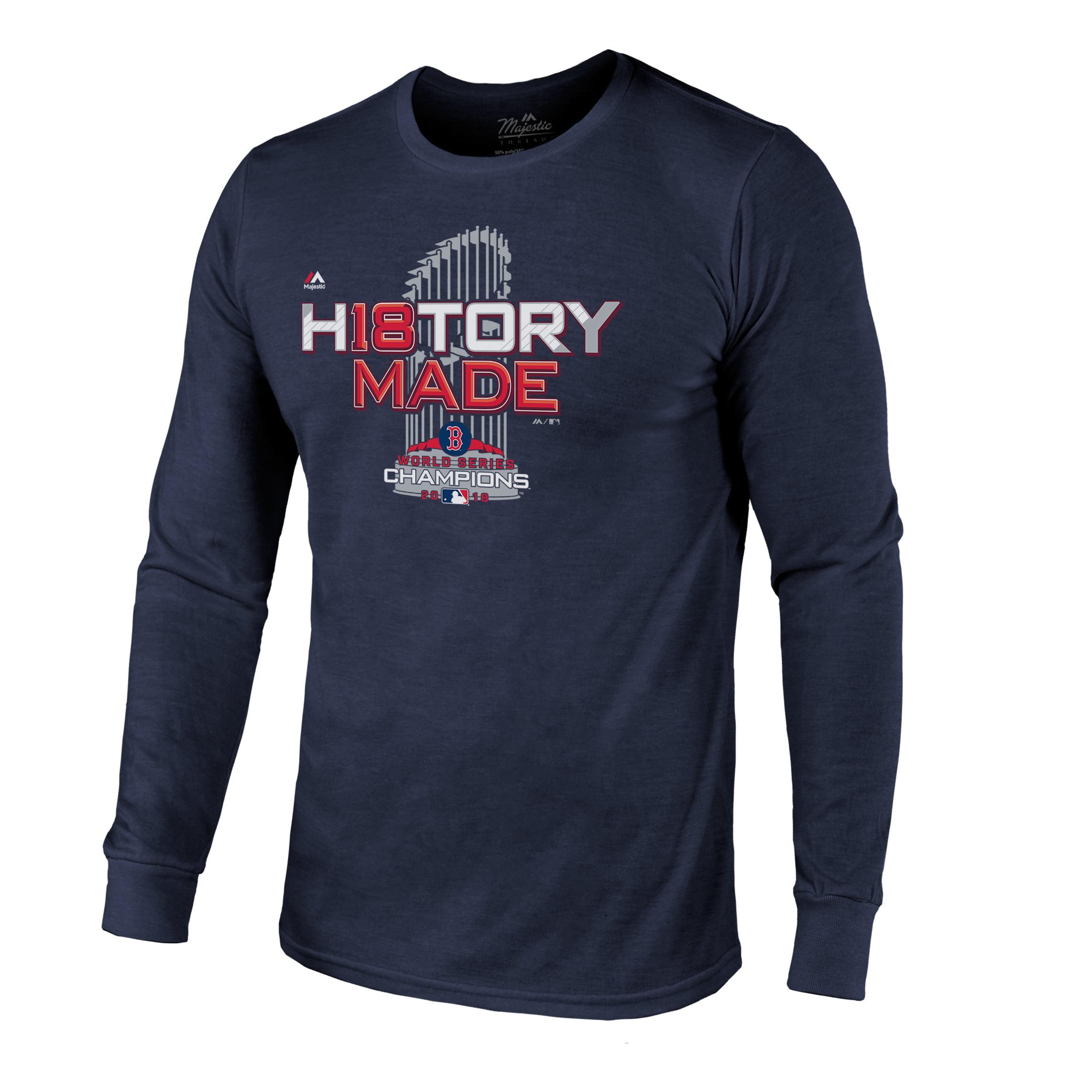 Boston Red Sox Majestic Threads 2018 World Series Champions Locker Room Tri-Blend Long Sleeve T-Shirt - Navy