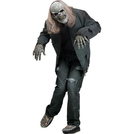 Adult Scary Instant Zombie Costume Kit W/ Mask 2 Gloves & 2 Shoe Covers, Style FW93247