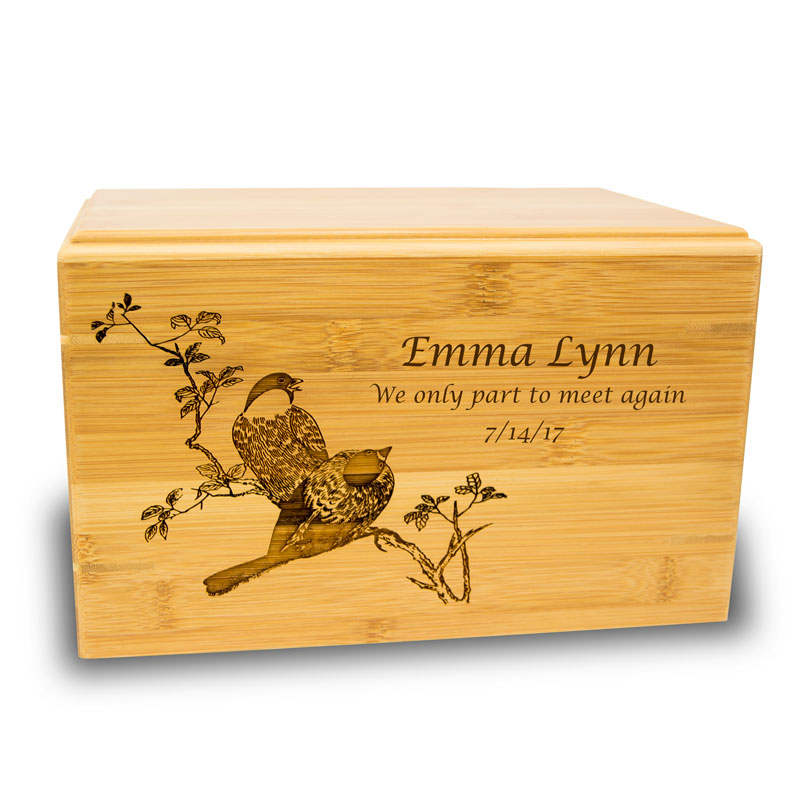 Bamboo Box Cremation Urn - Large 200 Pounds - Natural Brown Spring Birds